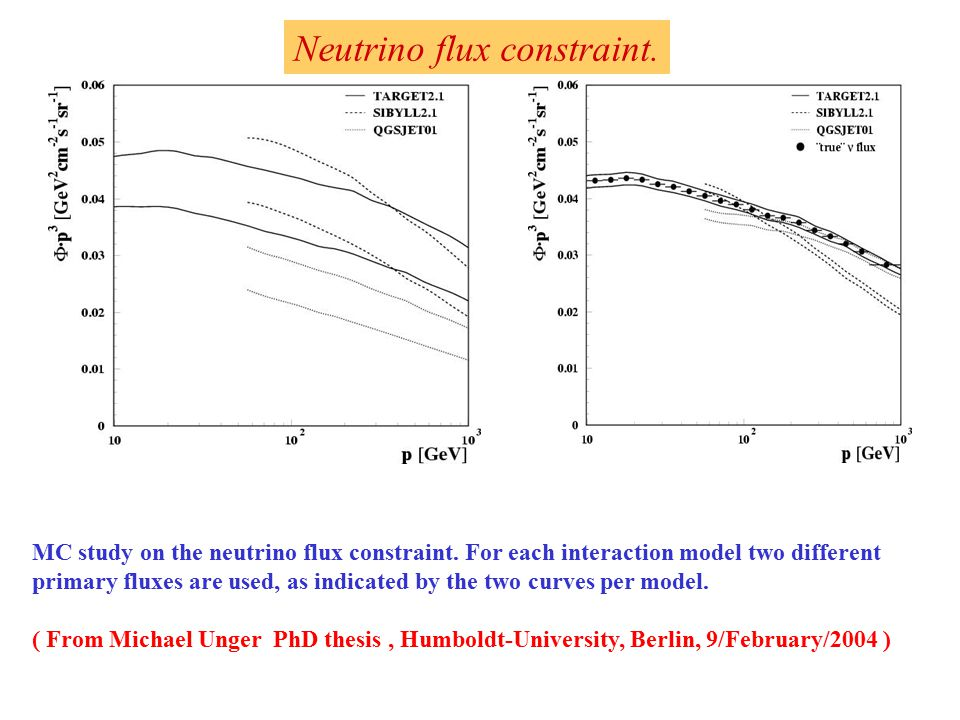 MC study on the neutrino flux constraint.