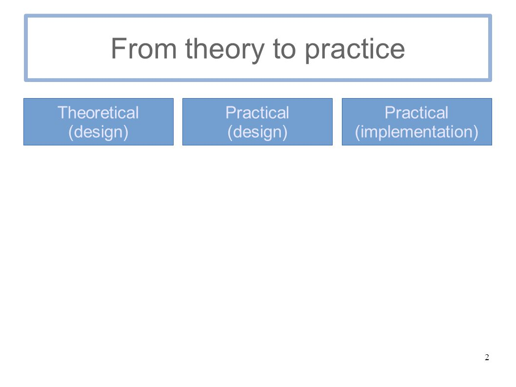 2 From theory to practice Theoretical (design) Practical (design) Practical (implementation)