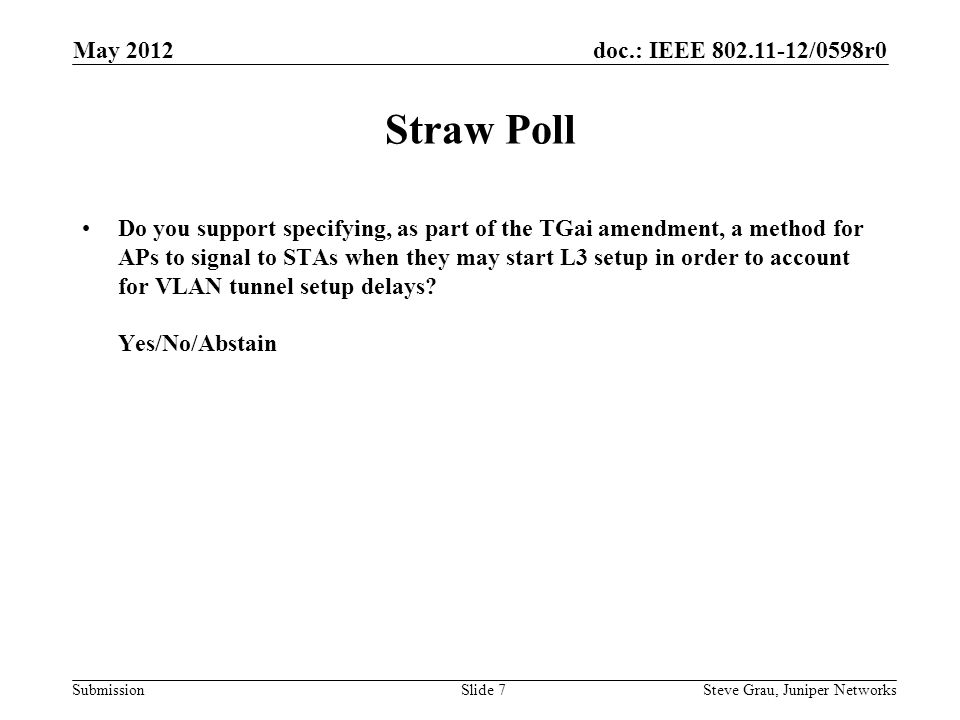 doc.: IEEE 802.11-12/0598r0 Submission Straw Poll Do you support specifying, as part of the TGai amendment, a method for APs to signal to STAs when they may start L3 setup in order to account for VLAN tunnel setup delays.