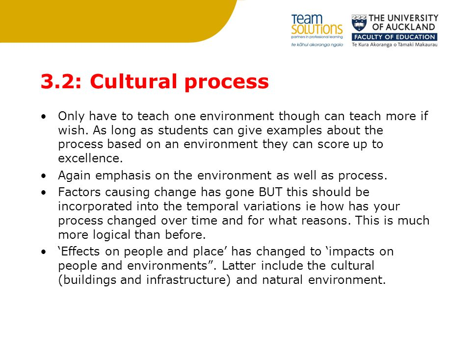 3.2: Cultural process Only have to teach one environment though can teach more if wish. As long as students can give examples about the process based