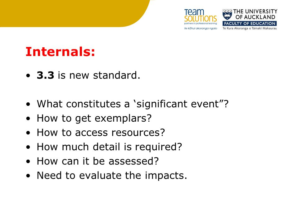 Internals: 3.3 is new standard. What constitutes a 'significant event .