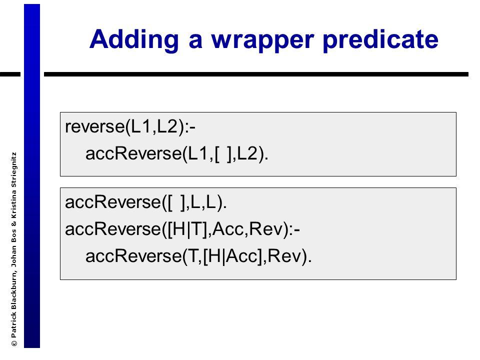 © Patrick Blackburn, Johan Bos & Kristina Striegnitz Adding a wrapper predicate accReverse([ ],L,L).