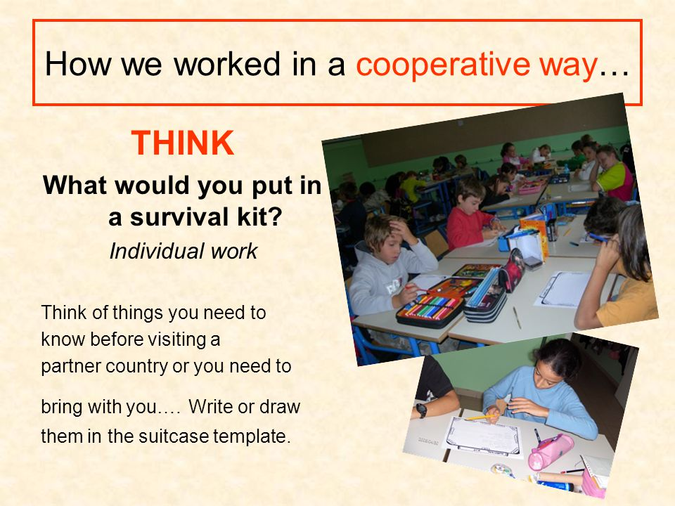 How we worked in a cooperative way… THINK What would you put in a survival kit? Individual work Think of things you need to know before visiting a par