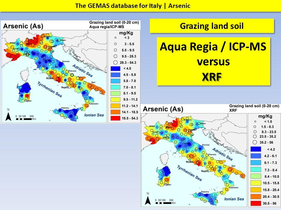 The GEMAS database for Italy | Arsenic Grazing land soil Aqua Regia / ICP-MS versus Aqua Regia / ICP-MS versus XRF