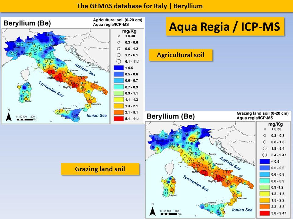 The GEMAS database for Italy | Beryllium Agricultural soil Grazing land soil Aqua Regia / ICP-MS