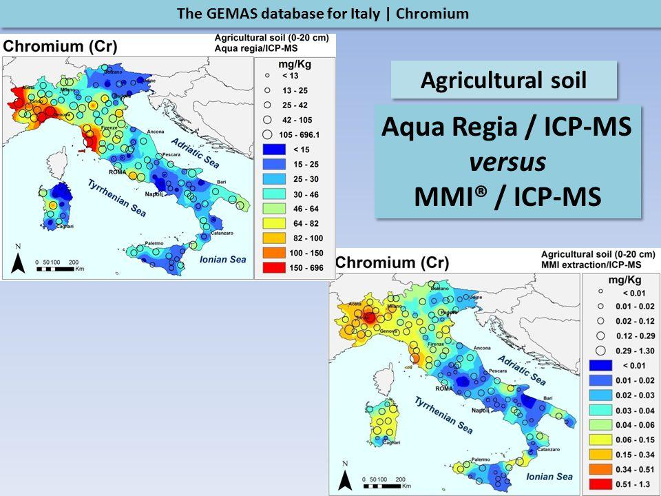 The GEMAS database for Italy | Chromium Agricultural soil Aqua Regia / ICP-MS versus MMI® / ICP-MS Aqua Regia / ICP-MS versus MMI® / ICP-MS