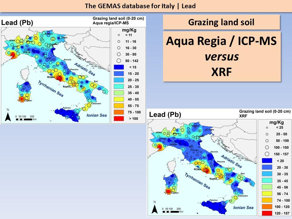The GEMAS database for Italy | Lead Grazing land soil Aqua Regia / ICP-MS versus XRF Aqua Regia / ICP-MS versus XRF