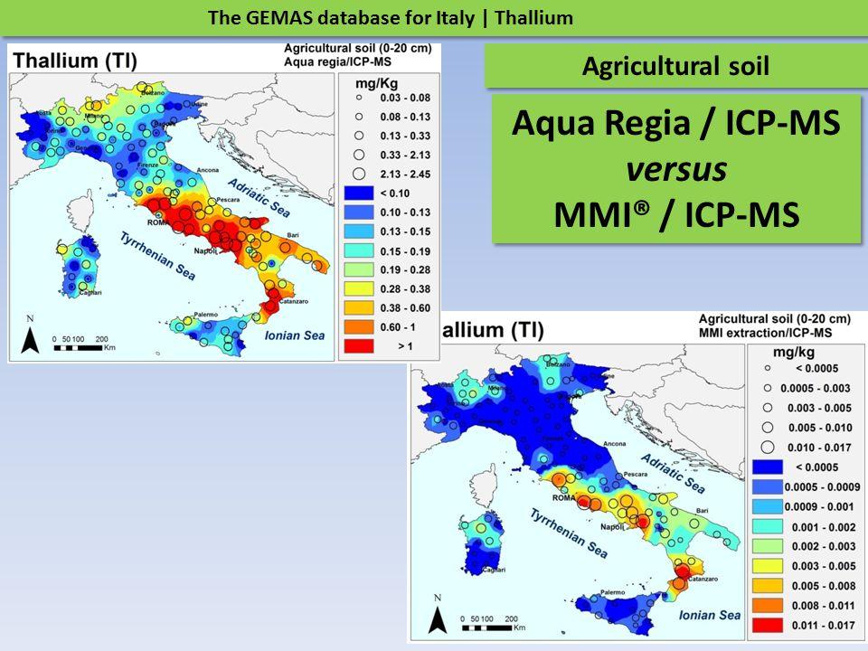 The GEMAS database for Italy | Thallium Agricultural soil Aqua Regia / ICP-MS versus MMI® / ICP-MS Aqua Regia / ICP-MS versus MMI® / ICP-MS