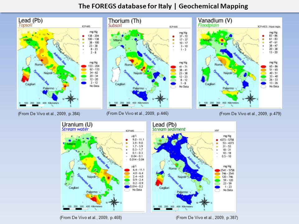 The FOREGS database for Italy | Geochemical Mapping (From De Vivo et al., 2009, p.384)(From De Vivo et al., 2009, p.479) (From De Vivo et al., 2009, p