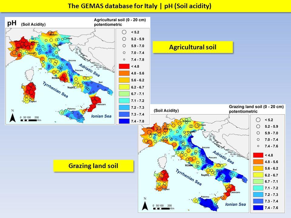 Grazing land soil Agricultural soil The GEMAS database for Italy | pH (Soil acidity)