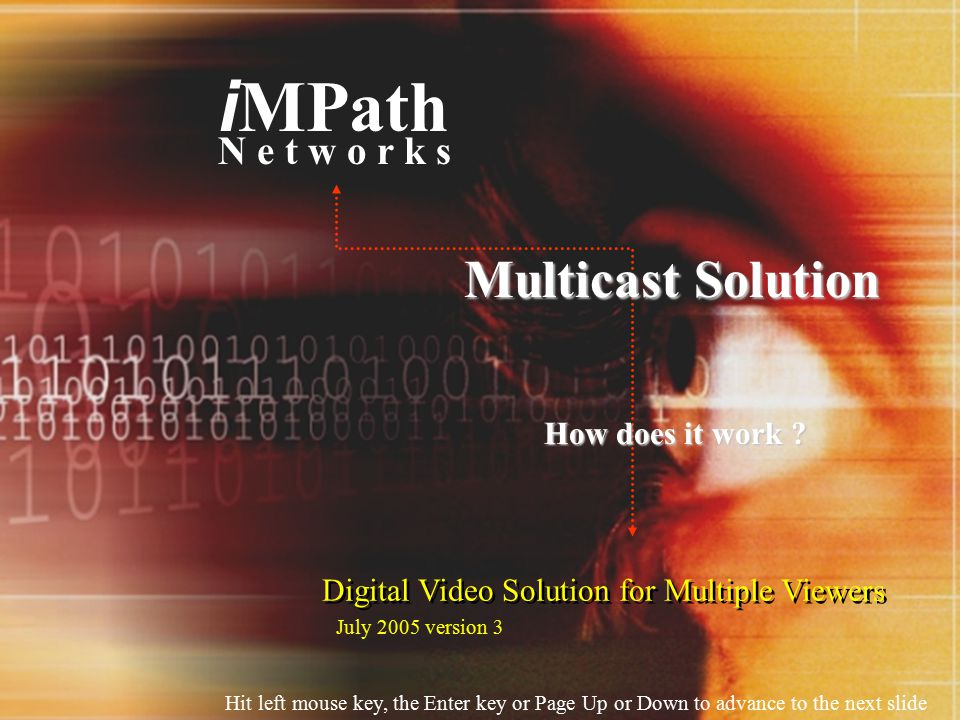 Digital Video Solution for Multiple Viewers i MPath N e t w o r k s Multicast Solution How does it work .