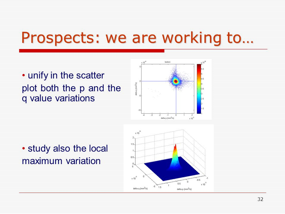 32 Prospects: we are working to… unify in the scatter plot both the p and the q value variations study also the local maximum variation