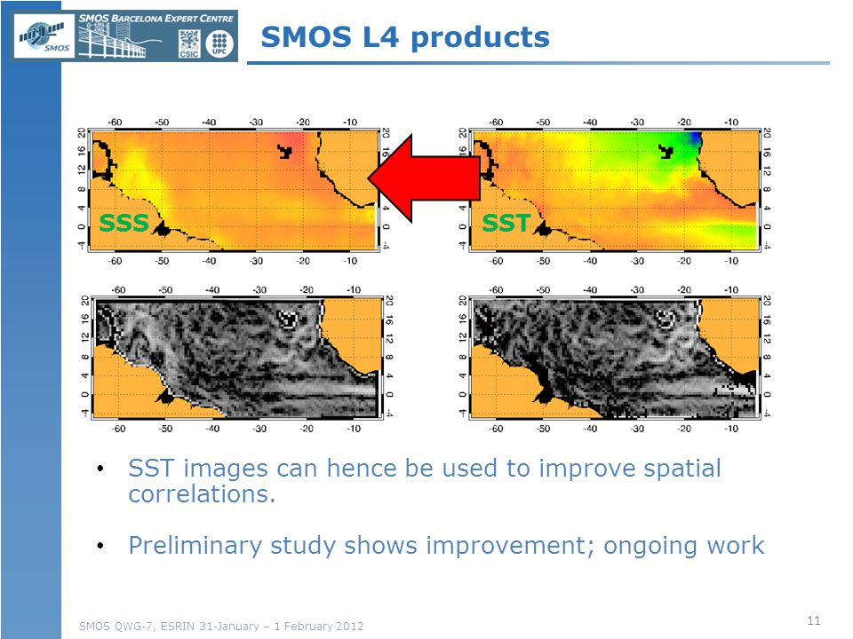 SMOS QWG-7, ESRIN 31-January – 1 February 2012 SSSSSTSSS SST images can hence be used to improve spatial correlations.