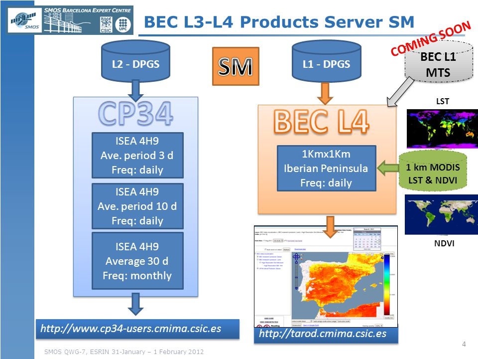 SMOS QWG-7, ESRIN 31-January – 1 February 2012 BEC L3-L4 Products Server SM ISEA 4H9 Ave.