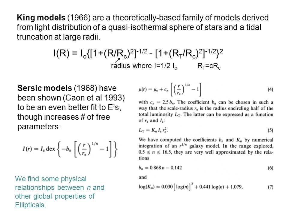 I(R) = I o {[1+(R/R c ) 2 ] -1/2 - [1+(R T /R c ) 2 ] -1/2 } 2 radius where I=1/2 I o R T =cR c King models (1966) are a theoretically-based family of models derived from light distribution of a quasi-isothermal sphere of stars and a tidal truncation at large radii.