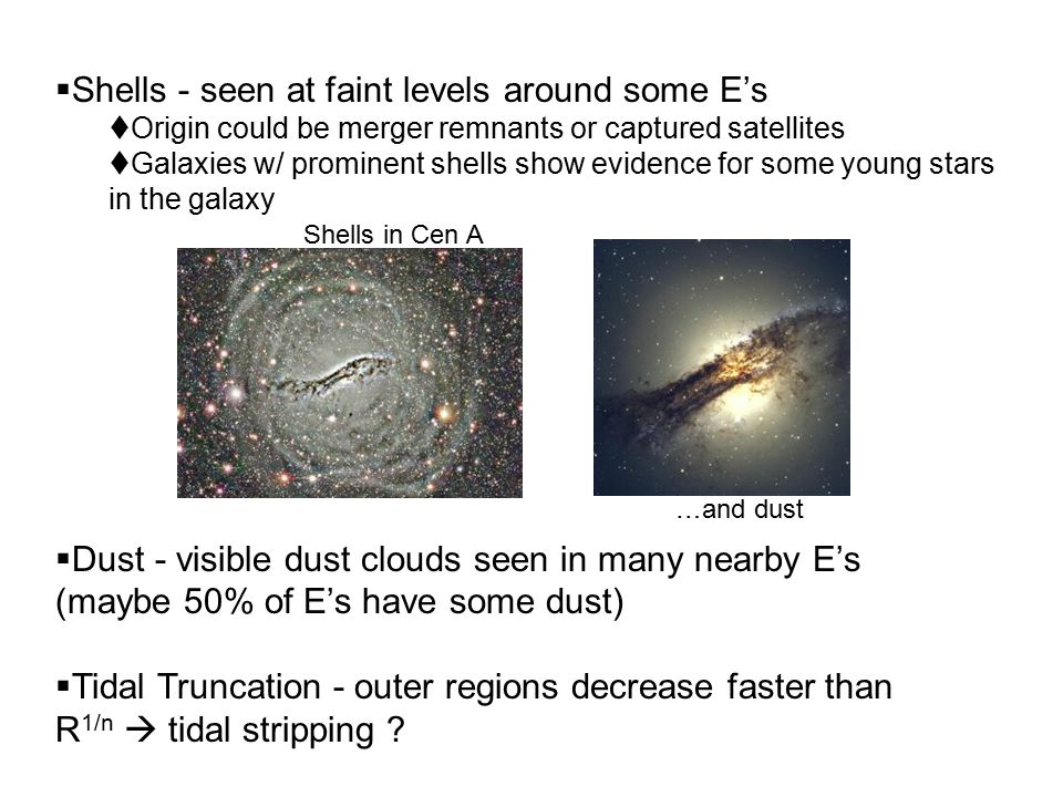  Shells - seen at faint levels around some E's  Origin could be merger remnants or captured satellites  Galaxies w/ prominent shells show evidence for some young stars in the galaxy  Dust - visible dust clouds seen in many nearby E's (maybe 50% of E's have some dust)  Tidal Truncation - outer regions decrease faster than R 1/n  tidal stripping .