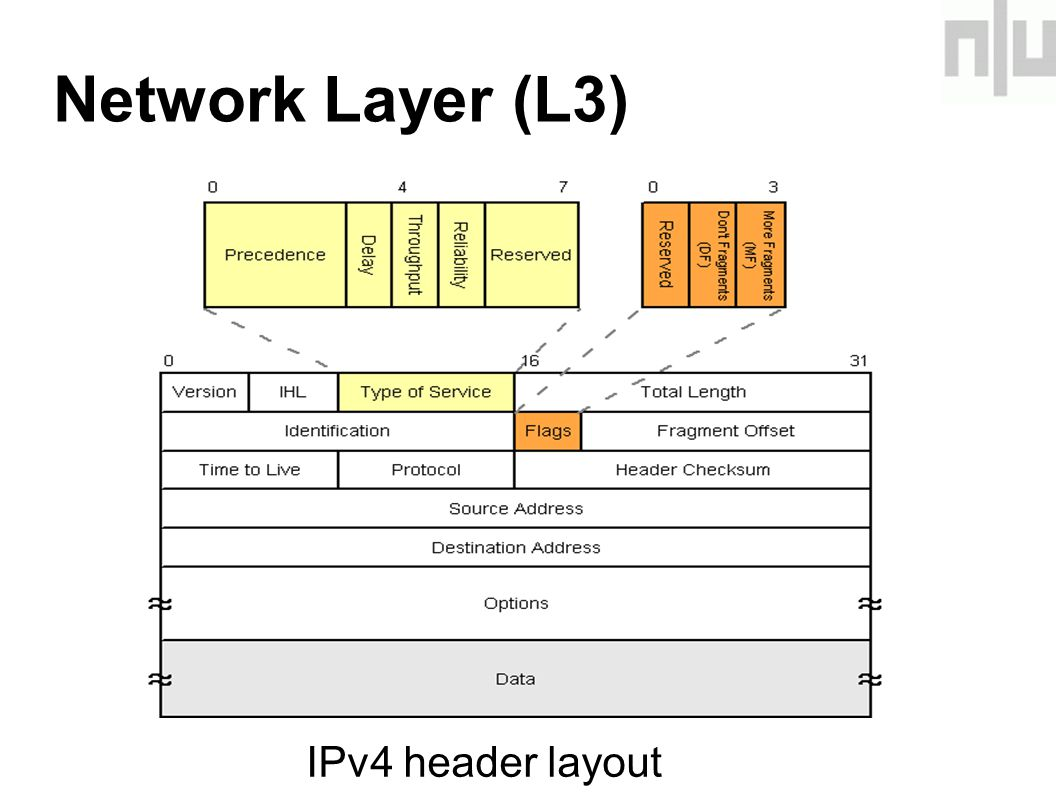 Network Layer (L3)‏ IPv4 header layout