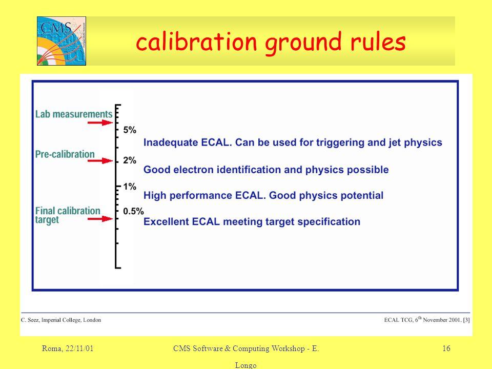 Roma, 22/11/01CMS Software & Computing Workshop - E. Longo 16 calibration ground rules