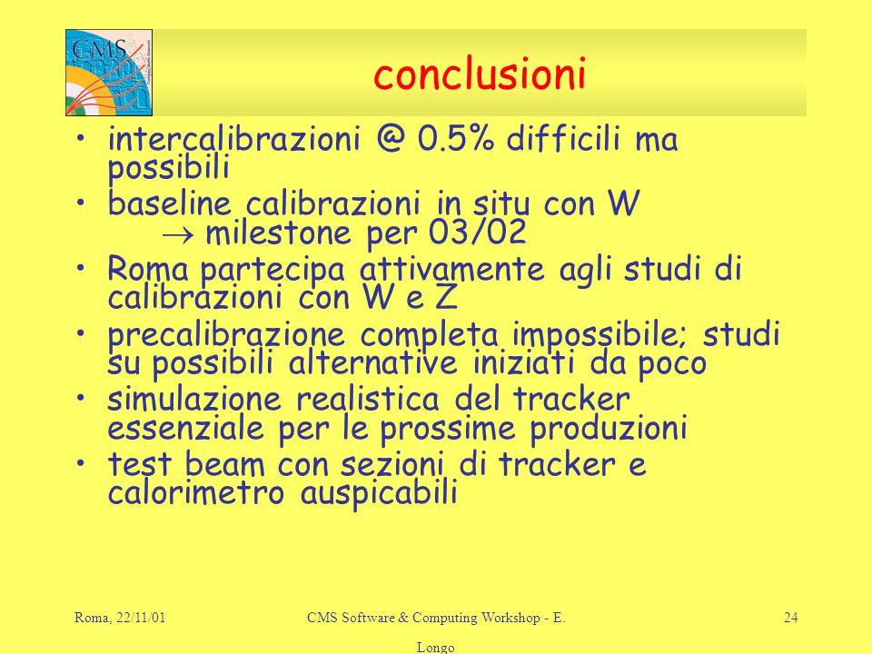 Roma, 22/11/01CMS Software & Computing Workshop - E.