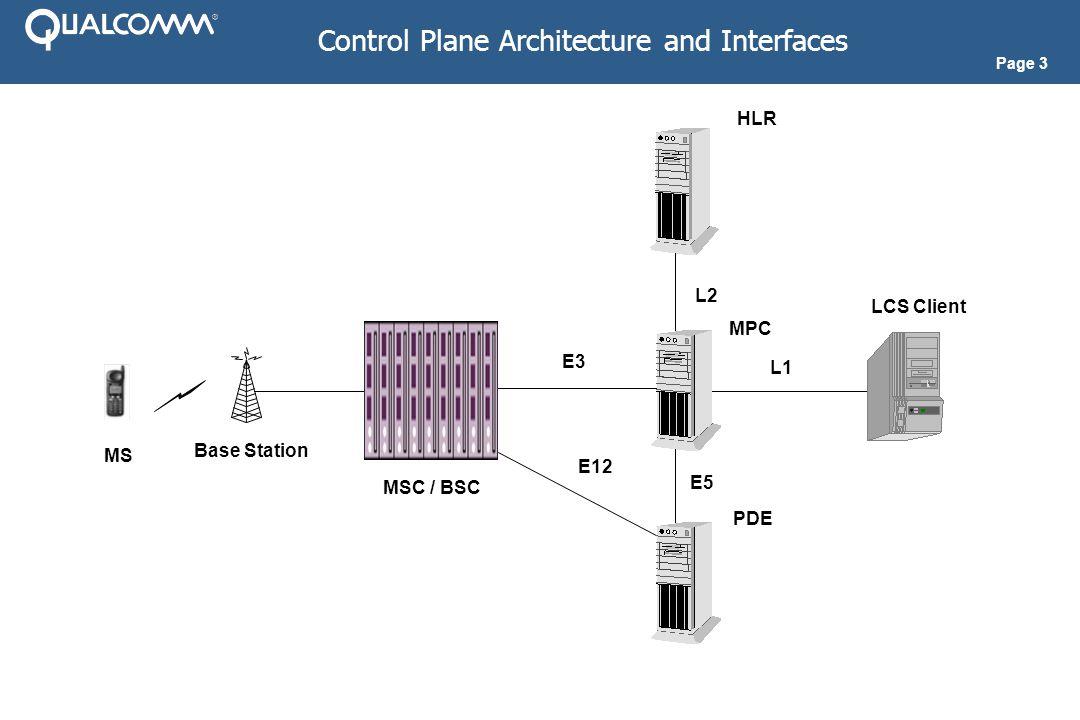 Page 3 Control Plane Architecture and Interfaces Base Station LCS Client PDE MPC MSC / BSC MS E3 E12 E5 L1 HLR L2