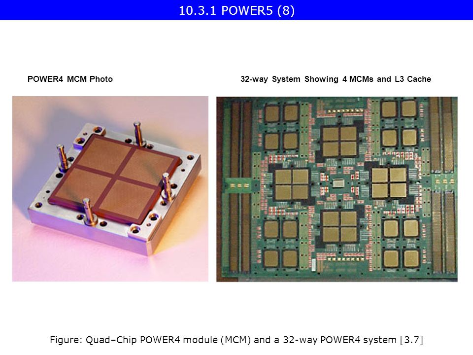 POWER4 MCM Photo32-way System Showing 4 MCMs and L3 Cache Figure: Quad–Chip POWER4 module (MCM) and a 32-way POWER4 system [3.7] 10.3.1 POWER5 (8)