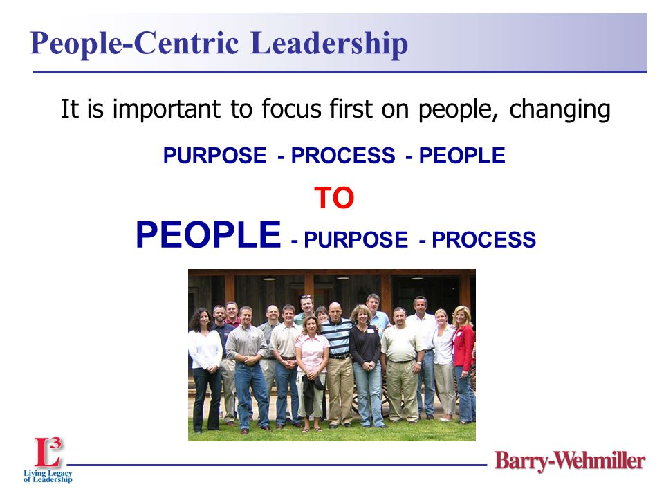 It is important to focus first on people, changing PEOPLE - PURPOSE - PROCESS PURPOSE - PROCESS - PEOPLE TO People-Centric Leadership