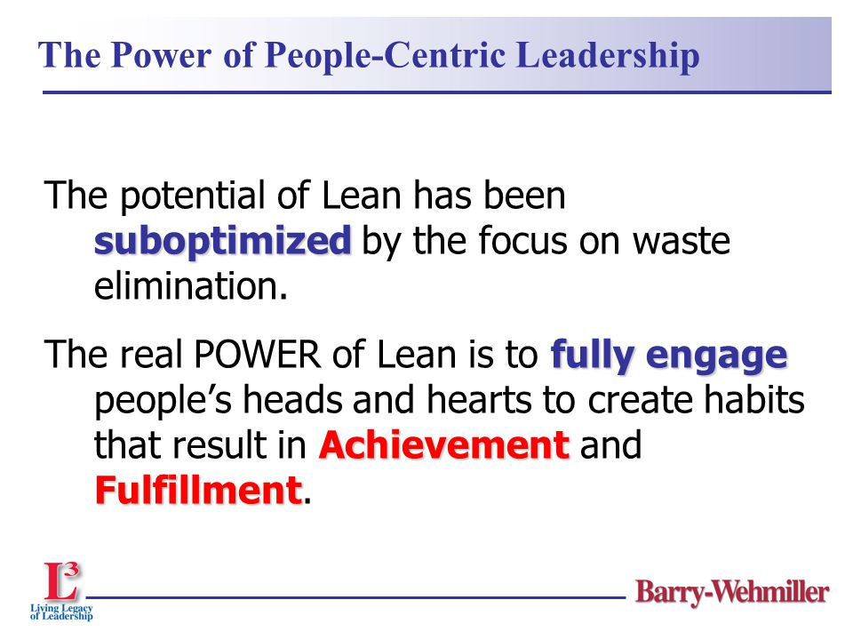 Through People-Centric leadership we align … head heart hands the head to a vision the heart through inspiration the hands to continuous improvement trust FULFILLMENTperformance The results are...
