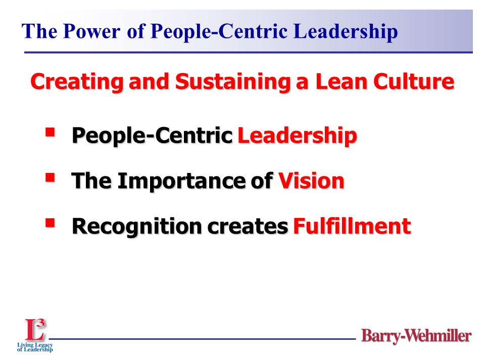 People-Centric Leadership  The Importance of Vision  Recognition creates Fulfillment The Power of People-Centric Leadership Creating and Sustainin