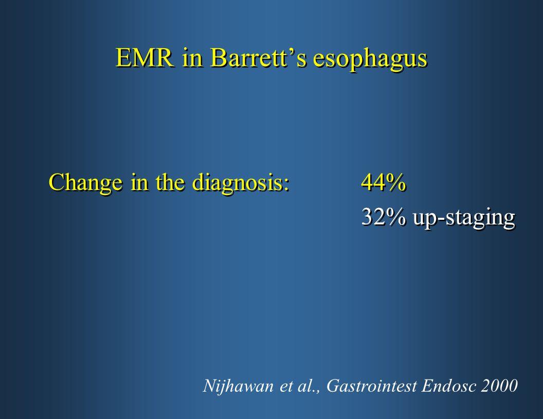 EMR in Barrett's esophagus Change in the diagnosis: 44% 32% up-staging Change in the diagnosis: 44% 32% up-staging Nijhawan et al., Gastrointest Endos