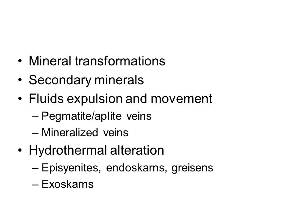 Mineral transformations Polymorphs Exsolutions (solvus)