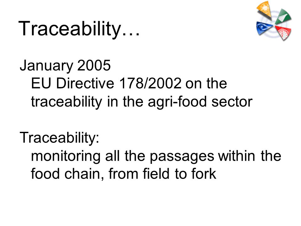 Traceability… January 2005 EU Directive 178/2002 on the traceability in the agri-food sector Traceability: monitoring all the passages within the food chain, from field to fork