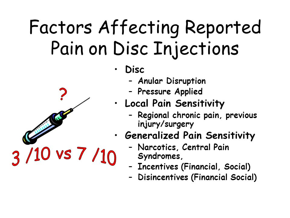 Factors Affecting Reported Pain on Disc Injections Disc –Anular Disruption –Pressure Applied Local Pain Sensitivity –Regional chronic pain, previous injury/surgery Generalized Pain Sensitivity –Narcotics, Central Pain Syndromes, –Incentives (Financial, Social) –Disincentives (Financial Social)