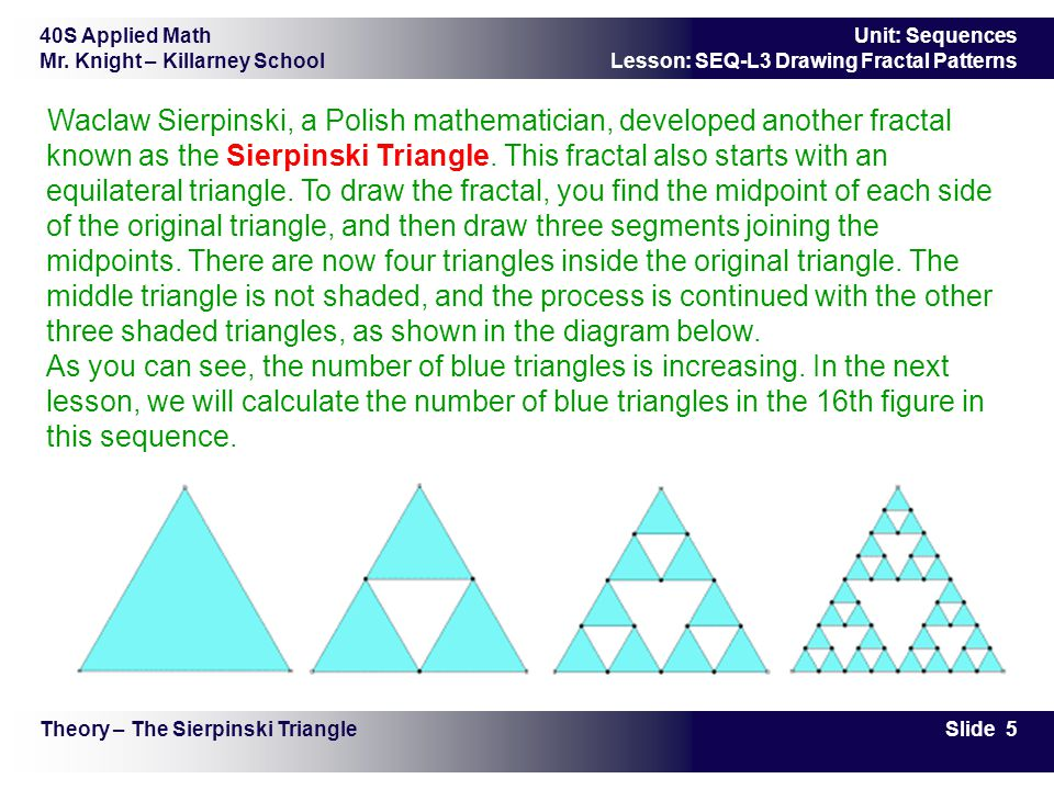 40S Applied Math Mr. Knight – Killarney School Slide 5 Unit: Sequences Lesson: SEQ-L3 Drawing Fractal Patterns Theory – The Sierpinski Triangle Waclaw