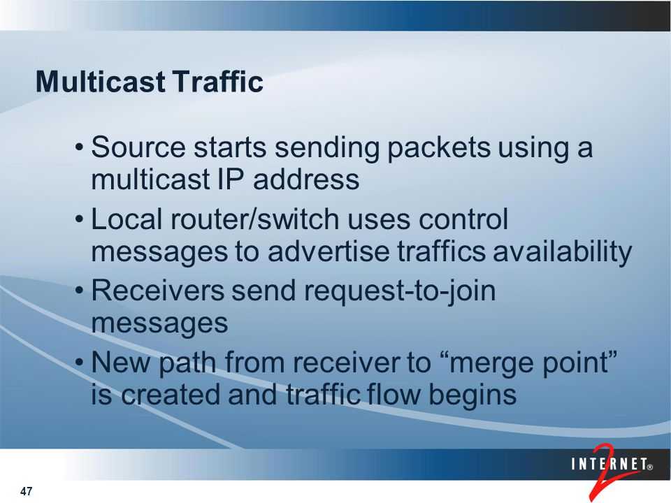 47 Multicast Traffic Source starts sending packets using a multicast IP address Local router/switch uses control messages to advertise traffics availa