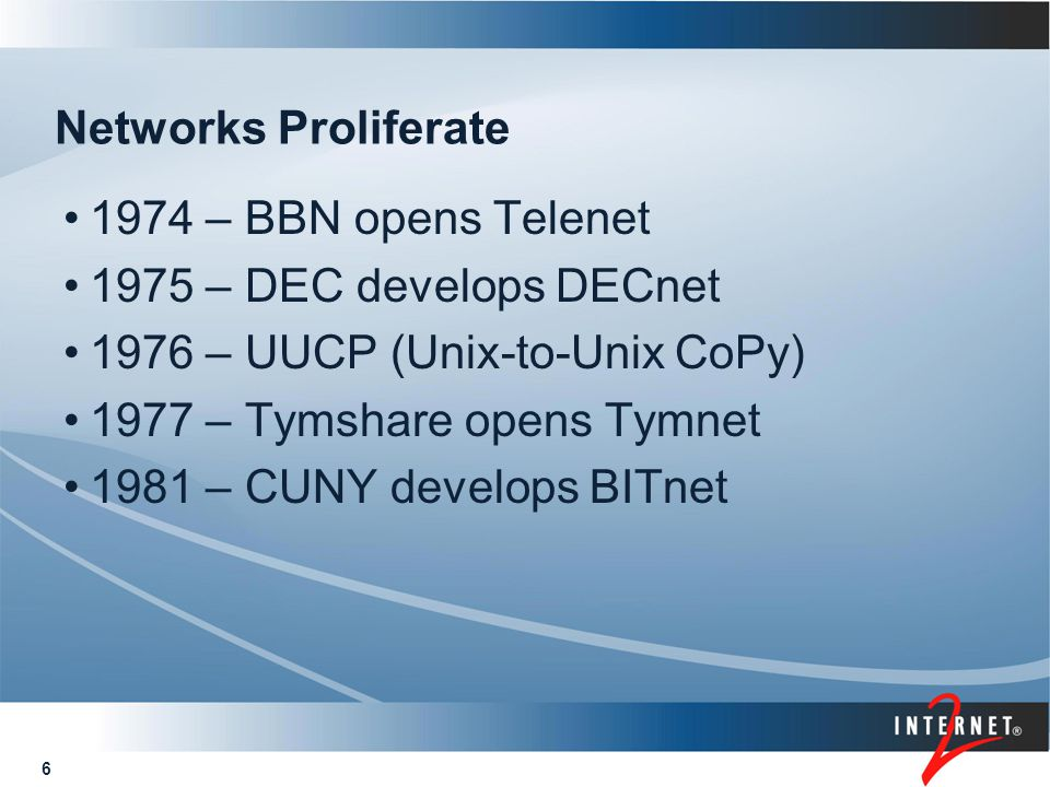 7 Federal Agencies get in the Act ARPA - ARPAnet DOE – MFENet and HEPNet created NASA – SPAN created NSF – CSNet created