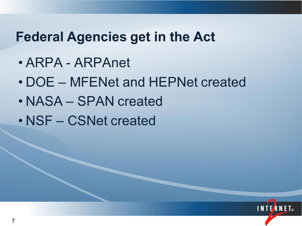 48 Conclusions Global packet switching began with the ARPAnet TCP/IP packet switching is the defacto standard for today's networks Smart hosts, dumb infrastructure New and existing applications support end-to-end communications between people