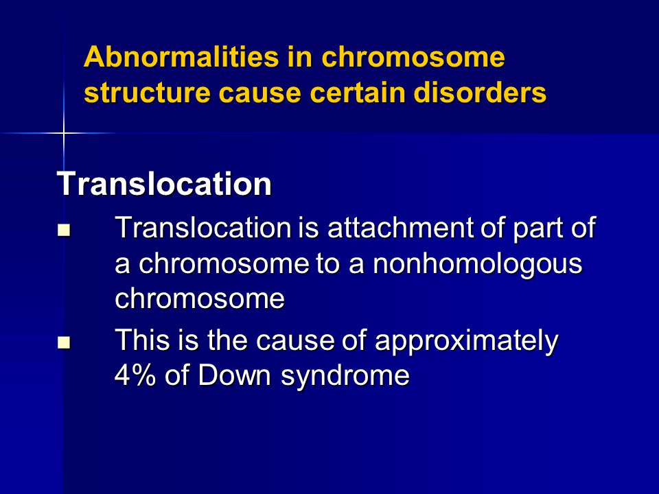 Abnormalities in chromosome structure cause certain disorders Translocation Translocation is attachment of part of a chromosome to a nonhomologous chromosome Translocation is attachment of part of a chromosome to a nonhomologous chromosome This is the cause of approximately 4% of Down syndrome This is the cause of approximately 4% of Down syndrome