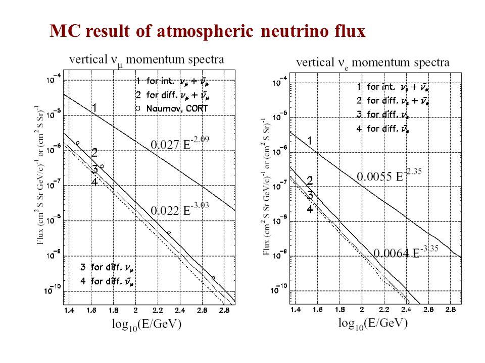 MC result of atmospheric neutrino flux