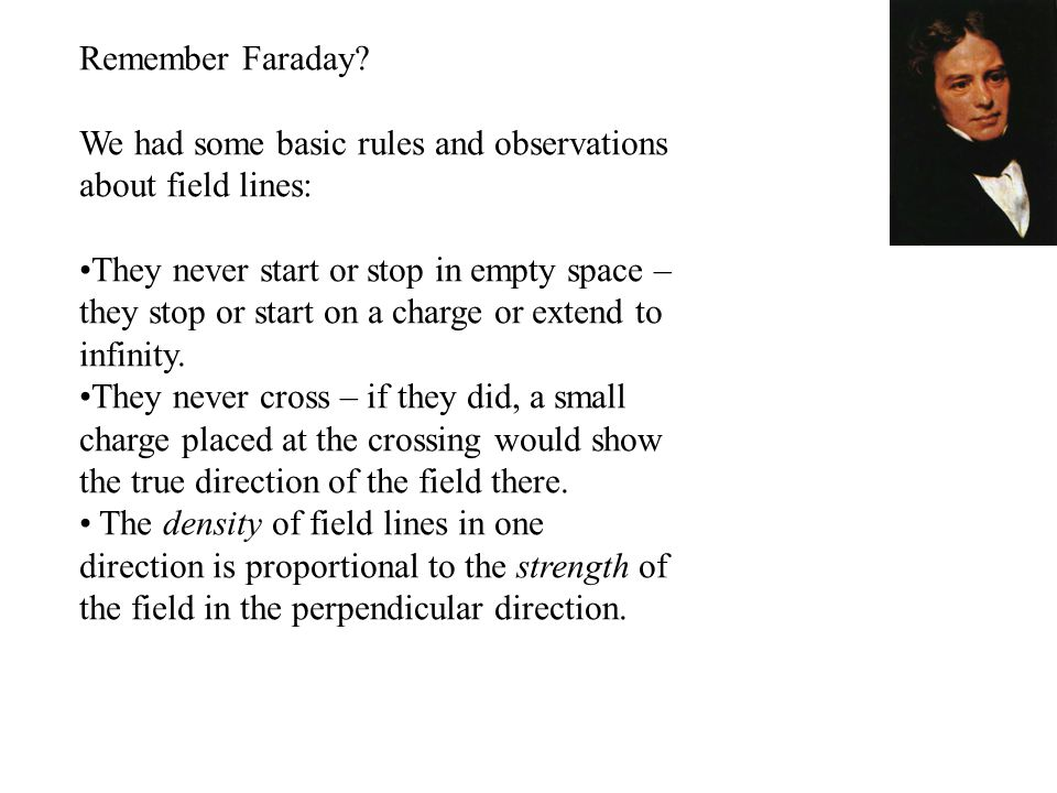 Remember Faraday? We had some basic rules and observations about field lines: They never start or stop in empty space – they stop or start on a charge