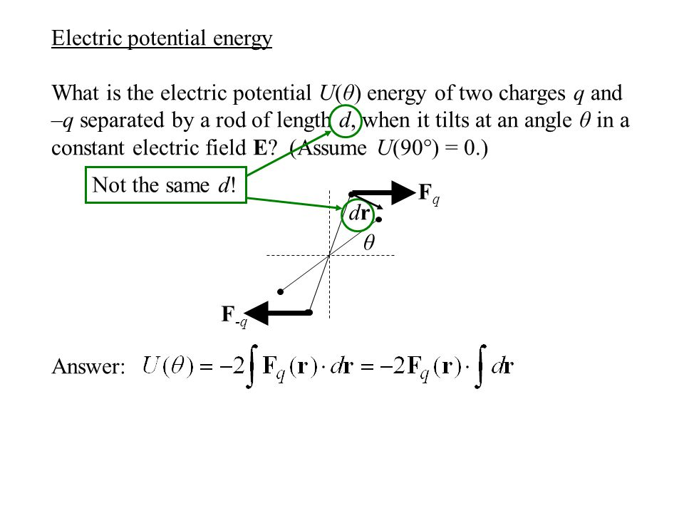 Electric potential energy What is the electric potential U(θ) energy of two charges q and –q separated by a rod of length d, when it tilts at an angle