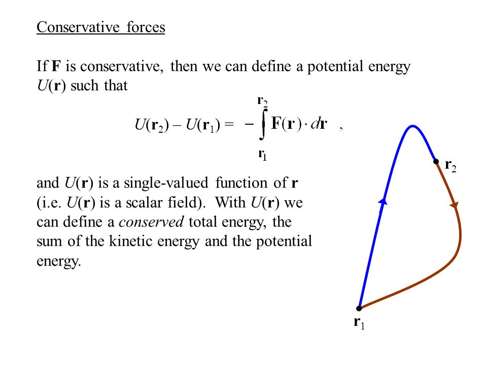 Conservation of energy If F is conservative, then we can define a potential energy U(r) such that U(r 2 ) – U(r 1 ) = and U(r) is a single-valued function of r (i.e.