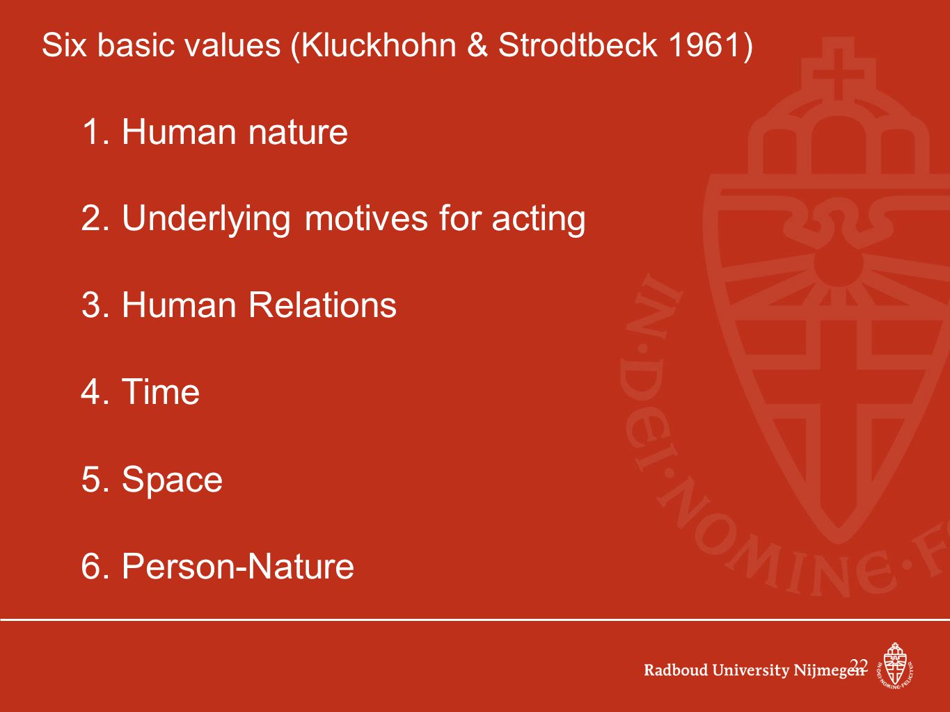 22 Six basic values (Kluckhohn & Strodtbeck 1961) 1. Human nature 2. Underlying motives for acting 3. Human Relations 4. Time 5. Space 6. Person-Natur