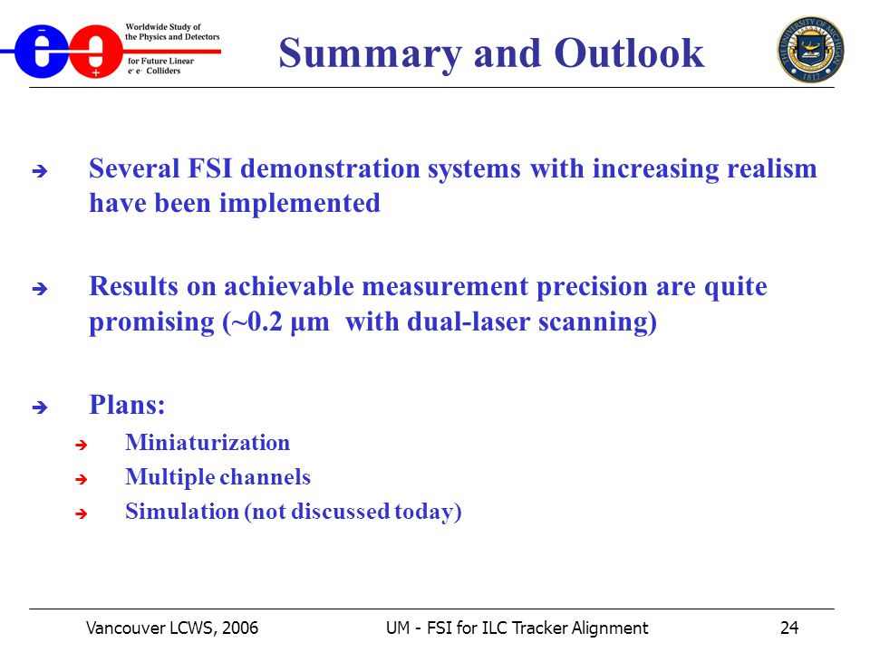 Vancouver LCWS, 2006UM - FSI for ILC Tracker Alignment24 Summary and Outlook  Several FSI demonstration systems with increasing realism have been implemented  Results on achievable measurement precision are quite promising (~0.2 μm with dual-laser scanning)  Plans:  Miniaturization  Multiple channels  Simulation (not discussed today)