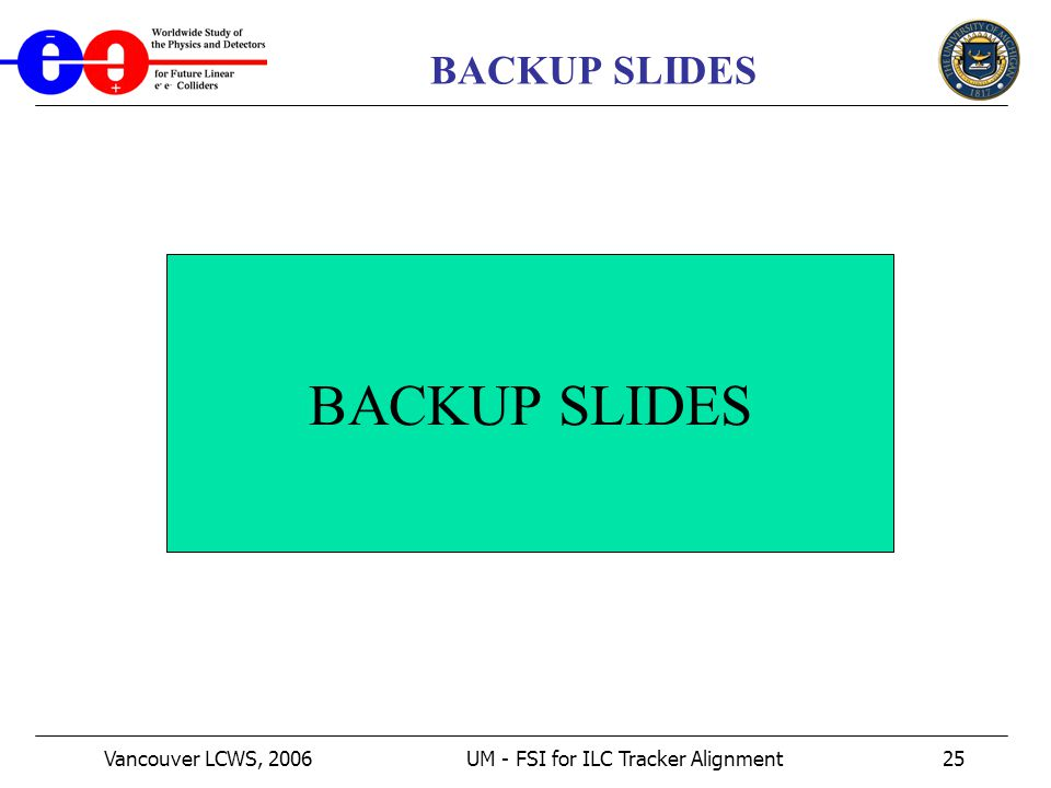 Vancouver LCWS, 2006UM - FSI for ILC Tracker Alignment25 BACKUP SLIDES