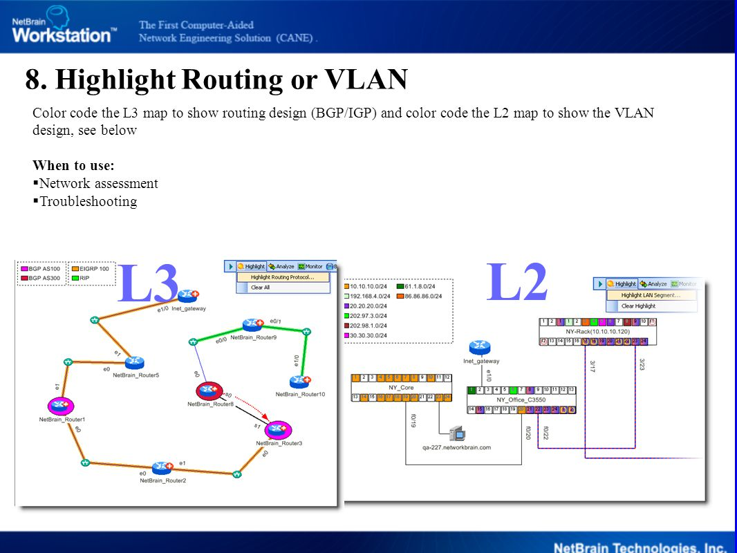 8. Highlight Routing or VLAN Color code the L3 map to show routing design (BGP/IGP) and color code the L2 map to show the VLAN design, see below When
