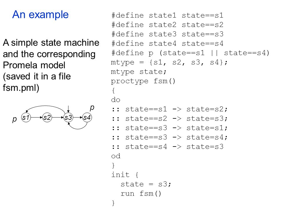 An example s2s1s4s3 p p #define state1 state==s1 #define state2 state==s2 #define state3 state==s3 #define state4 state==s4 #define p (state==s1 || st