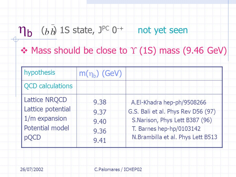 26/07/2002C.Palomares / ICHEP02  b ( ) 1S state, J PC 0 -+ not yet seen  Mass should be close to Υ  (1S) mass (9.46 GeV) hypothesis m(  b ) (GeV) QCD calculations Lattice NRQCD Lattice potential 1/m expansion Potential model pQCD 9.38 9.37 9.40 9.36 9.41 A.El-Khadra hep-ph/9508266 G.S.