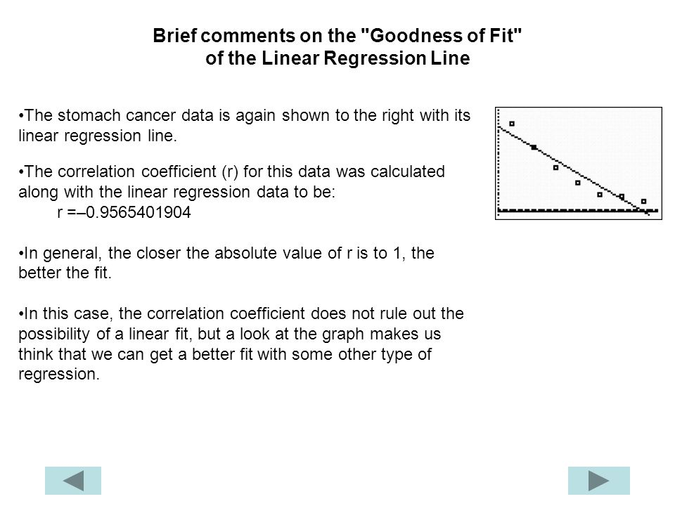 Brief comments on the Goodness of Fit of the Linear Regression Line The stomach cancer data is again shown to the right with its linear regression line.