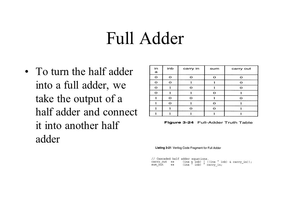 Full Adder To turn the half adder into a full adder, we take the output of a half adder and connect it into another half adder