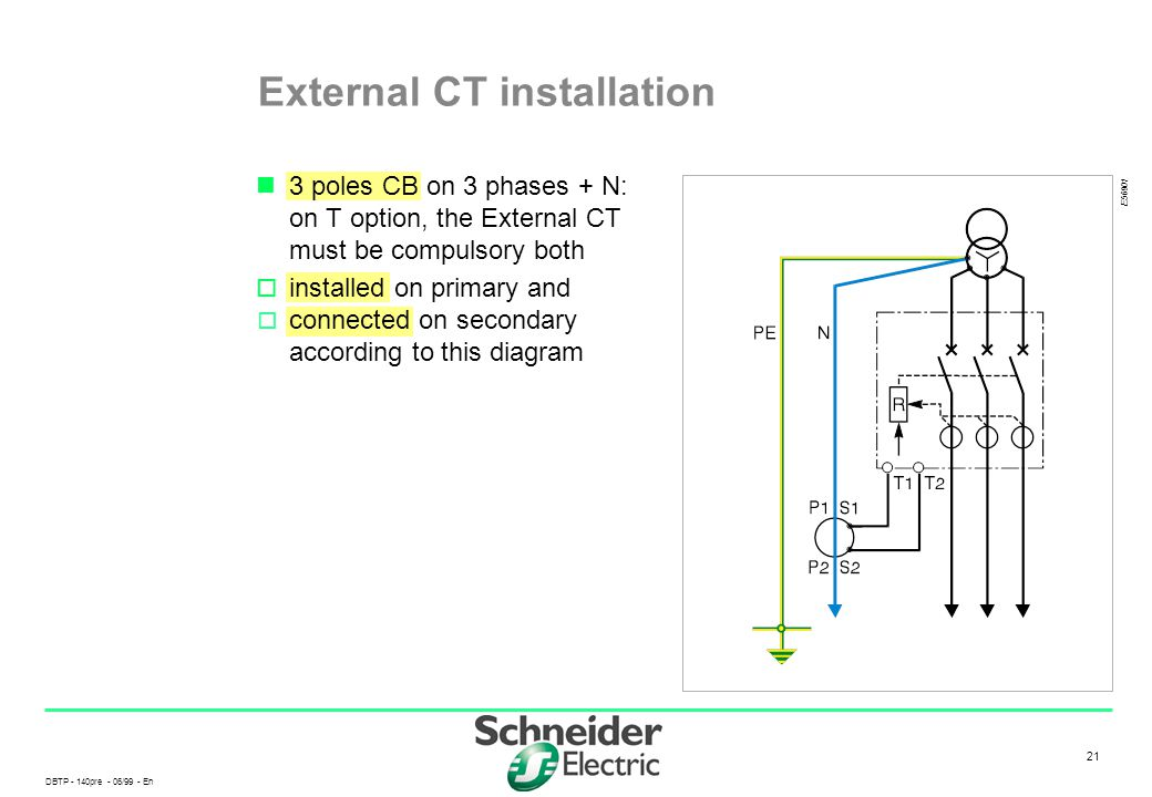 DBTP - 140pre - 06/99 - En 21 External CT installation 3 poles CB on 3 phases + N: on T option, the External CT must be compulsory both  installed on